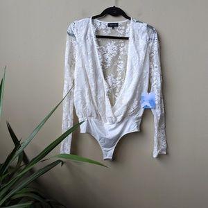 MAJORELLE Wayward Lace Long Sleeve Bodysuit size S
